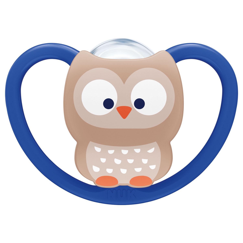 Купить Nuk Силиконовая пустышка ортодонтической формы Space Сова, размер 2, 6-18 месяцев (Nuk, Соски-пустышки и аксессуары)