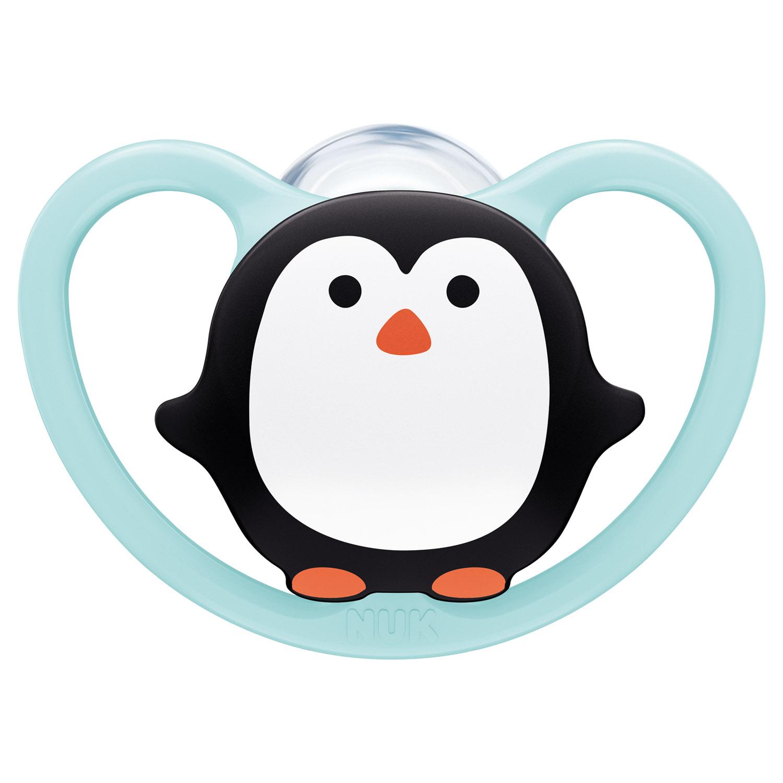 Купить Nuk Силиконовая пустышка Space ортодонтической формы Пингвин, размер 2, 6-18 месяцев (Nuk, Соски-пустышки и аксессуары)