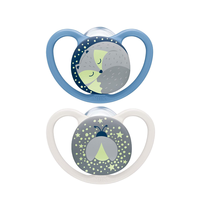Купить Nuk Силиконовая пустышка Space Night ортодонтической формы Лисичка Светлячок, размер 2, 6-18 месяцев (Nuk, Соски-пустышки и аксессуары)