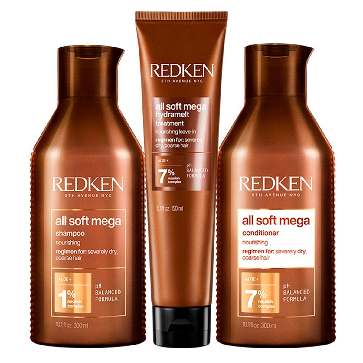 Купить Redken Набор для очень сухих и ломких волос: Шампунь 300 мл + Кондиционер 300 мл + Несмываемый уход Hydramelt, 150 мл (Redken, Уход за волосами), США