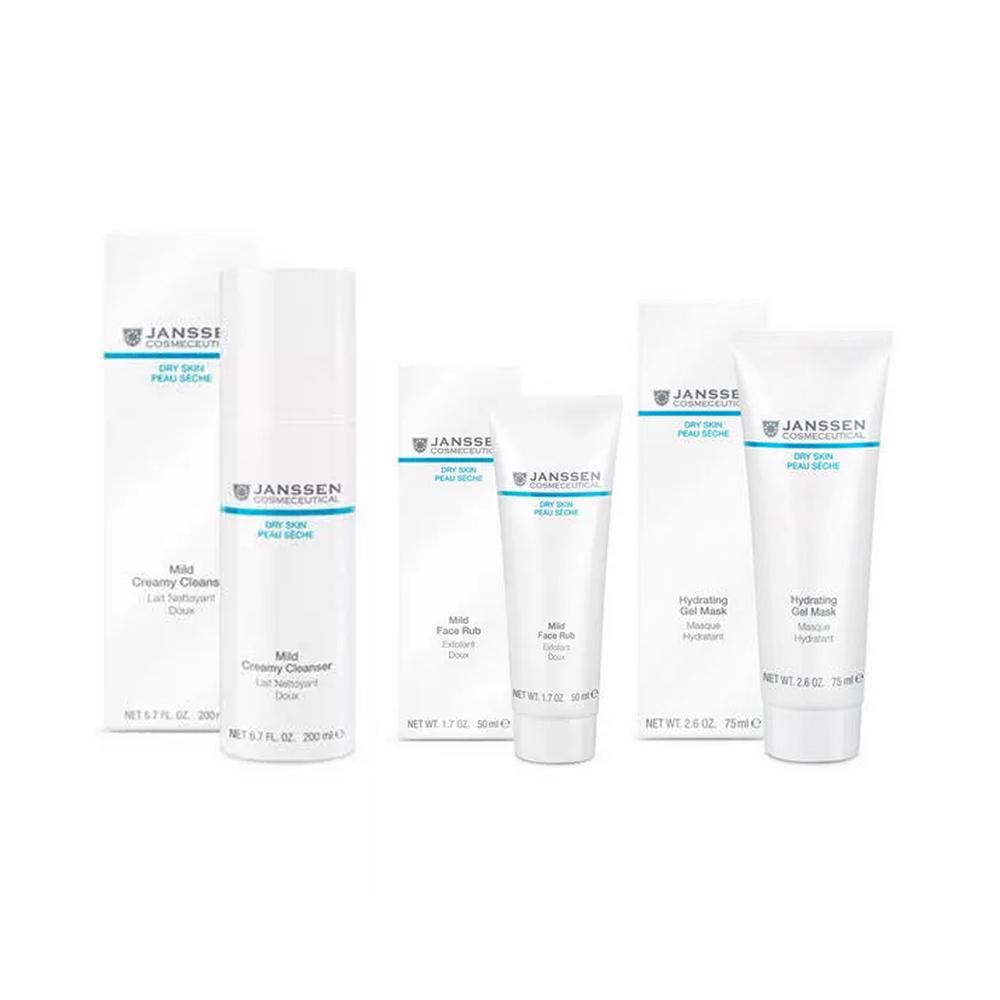 Купить Janssen Cosmetics Набор Деликатное очищение и увлажнение : эмульсия 200 мл + скраб 50 мл + гель-маска 75 мл (Janssen Cosmetics, Dry Skin), Германия