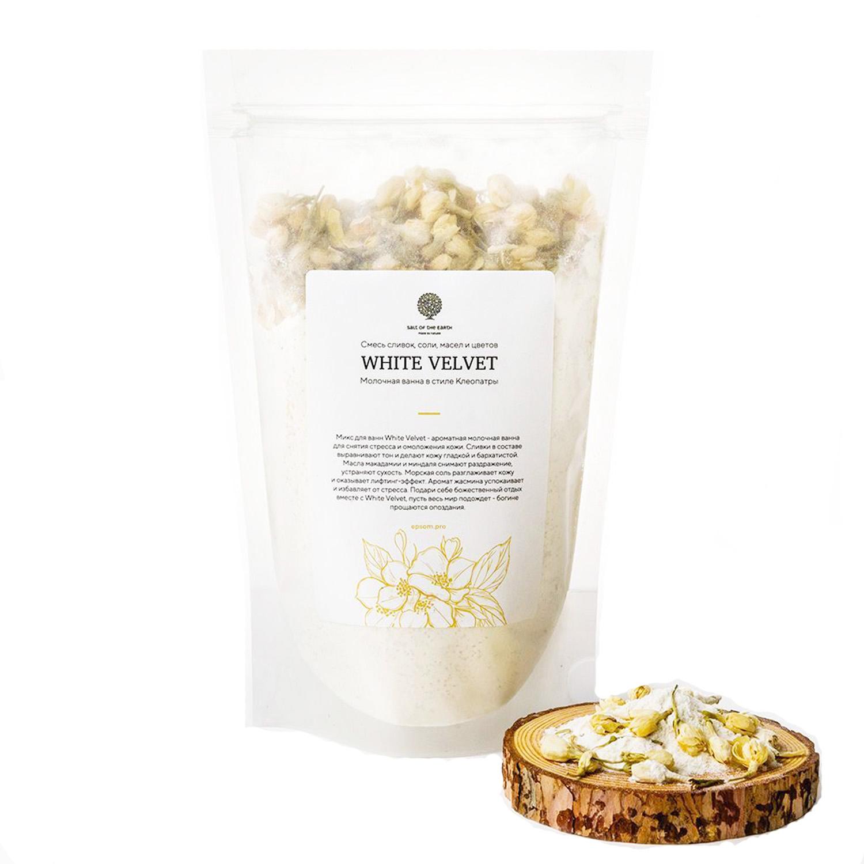 Купить Salt of the Earth Микс White Velvet с цветками жасмина и молоком для ванной, 400 г (Salt of the Earth, Для ванны), Россия