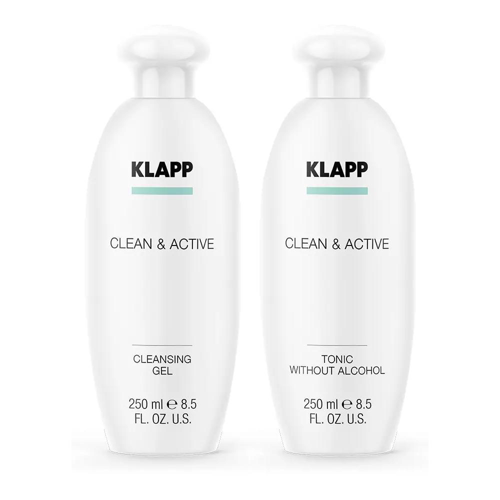 Купить Klapp Набор Бережное очищение : гель 250 мл + тоник 250 мл (Klapp, Clean & active), Германия