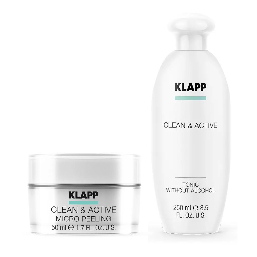 Купить Klapp Набор Интенсивное очищение : микропилинг 50 мл + тоник 250 мл (Klapp, Clean & active), Германия