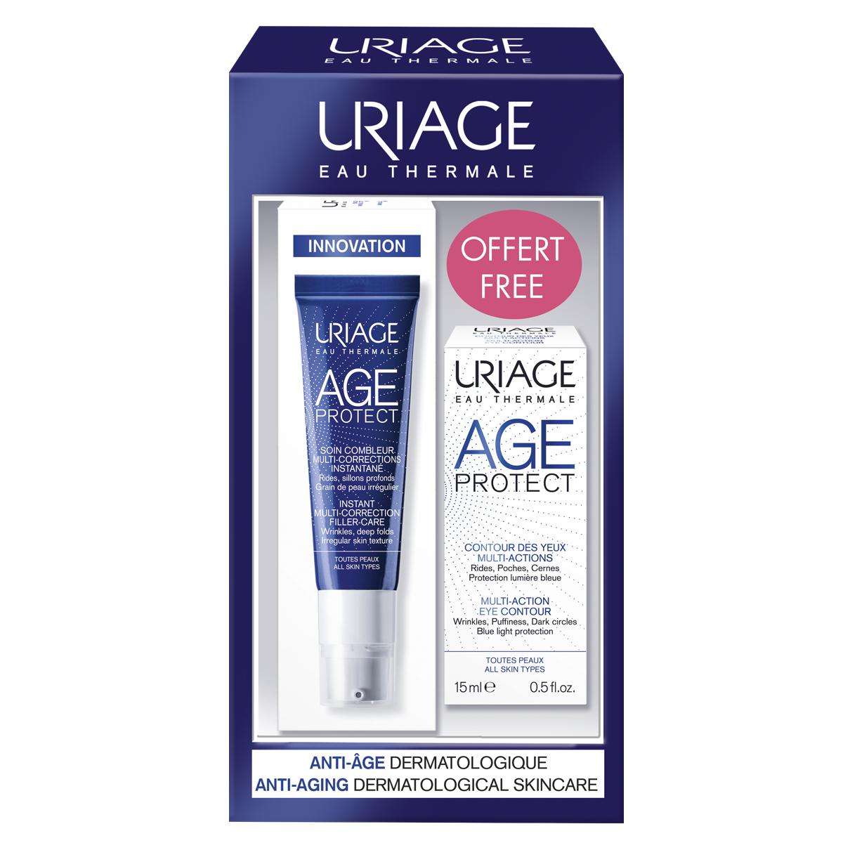 Купить Uriage Набор: филлер мгновенного действия для коррекции морщин 30 мл + крем для кожи контура глаз 15 мл (Uriage, Age Protect), Франция
