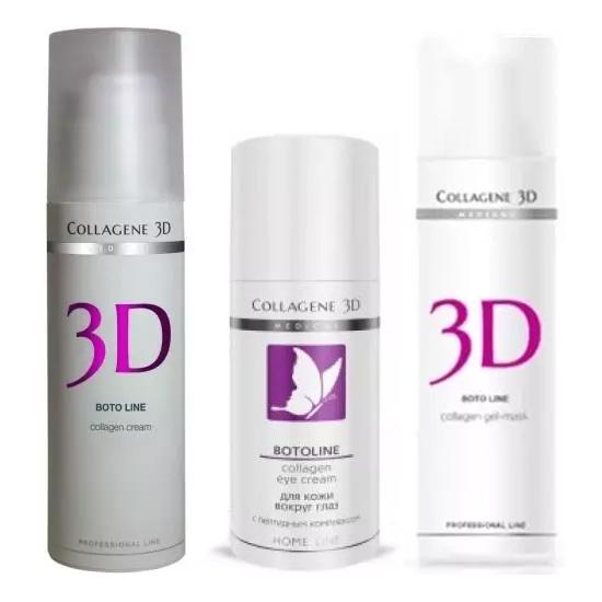 Купить Collagene 3D Набор Коррекция морщин : крем для лица 30 мл + крем для век 15 мл + гель-маска 30 мл (Collagene 3D, Boto), Россия
