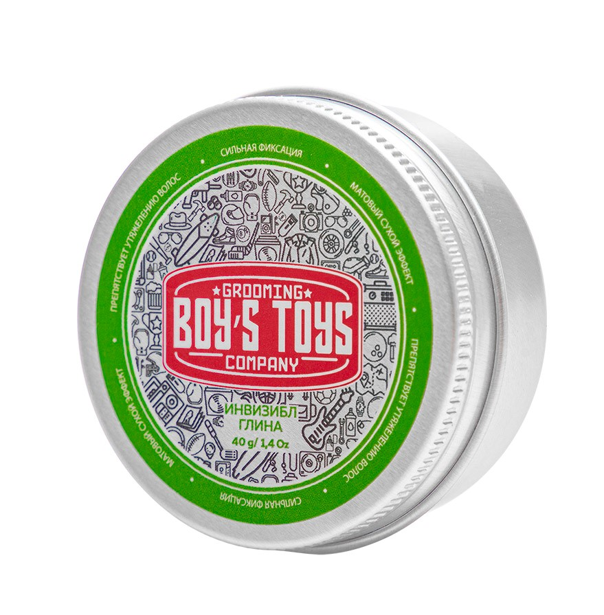 Boys Toys Глина для укладки волос средней фиксации с низким уровнем блеска Invisible Forming Matte Clay, 40 мл (Boys Toys, Стайлинг)
