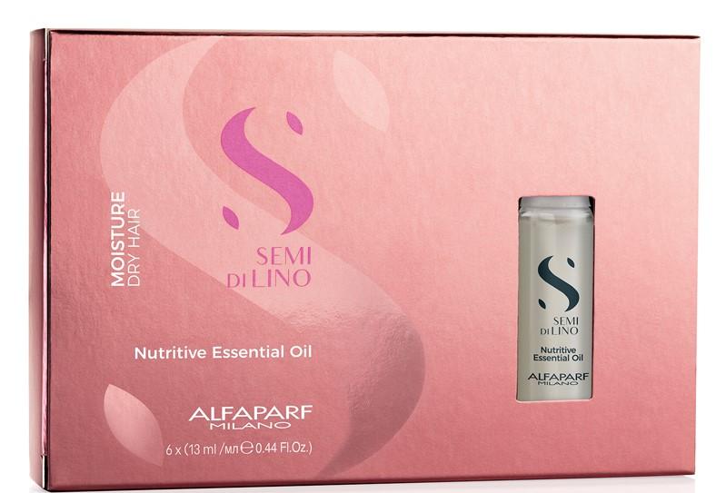 масло увлажняющее для питания сухих волос semi di lino nutritive essential oil 6 13мл ALFAPARF MILANO Увлажняющее масло для питания сухих волос Moisture Nutritive Essential Oil, 6 х 13 мл (ALFAPARF MILANO, Уход)