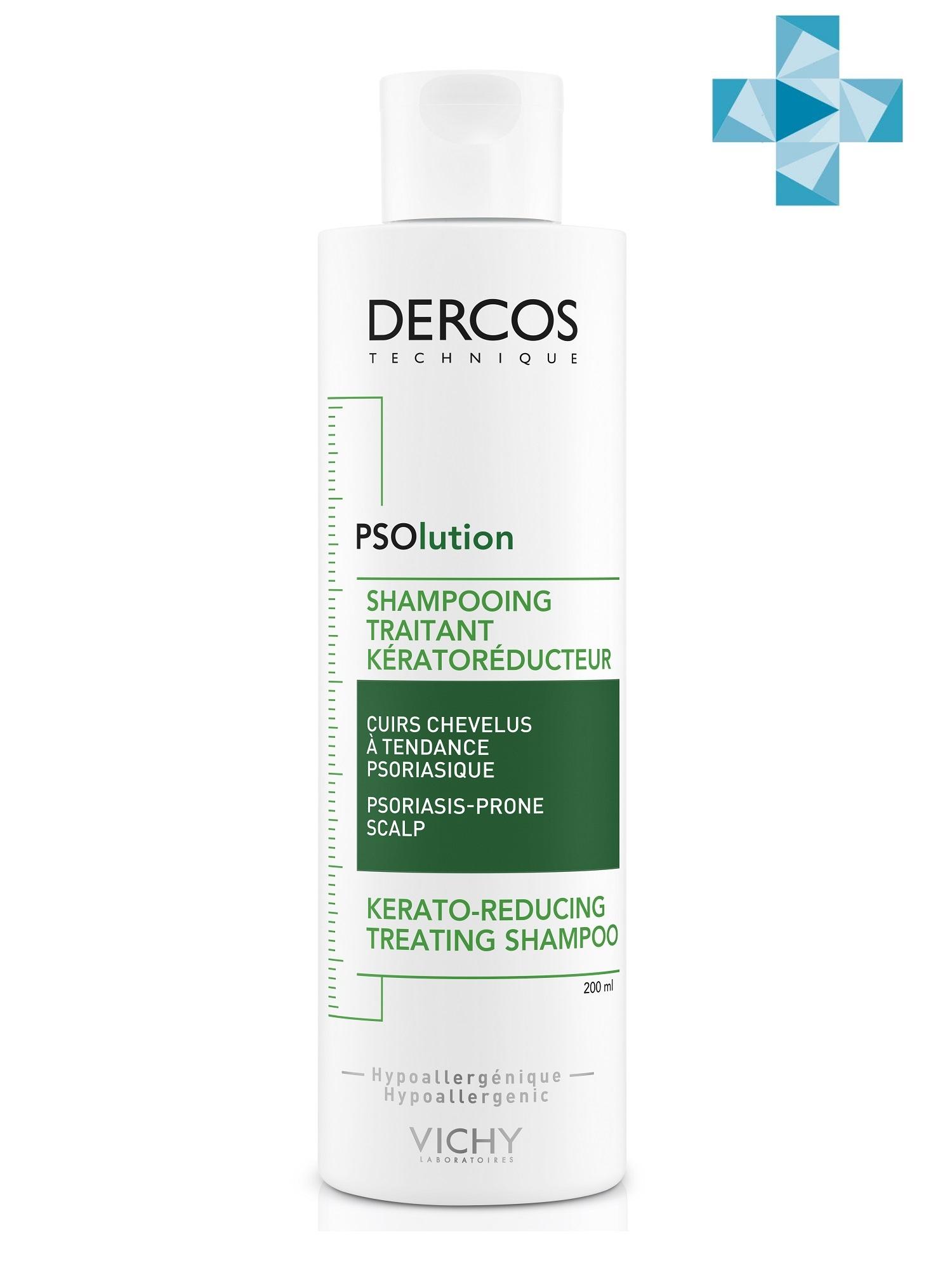 Купить Vichy Кераторегулирующий шампунь для кожи головы, склонной к псориазу, 200 мл (Vichy, Dercos), Франция