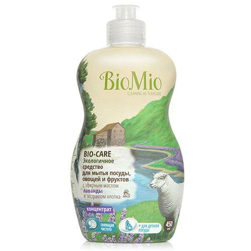 Средство для мытья посуды, овощей и фруктов с эфирным маслом лаванды, 450 мл (BioMio, Посуда) био мио bio care средство для мытья посуды овощей и фруктов с эфирным маслом вербены 450мл