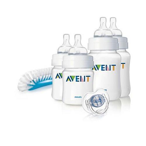 Набор для новорожденного Бутылочки Естественное кормление Avent Philips (2х125мл, 2х260мл), Пусты (Avent, Стандарт) бутылочка естественное кормление для младенцев 125 мл avent philips avent стандарт