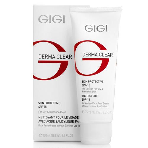 Крем увлажняющий защитный SPF 15, 75 мл (GIGI, Derma Clear) gigi крем bp azelaic cream с 15% азелаиновой кислотой для жирной проблемной кожи 30 мл