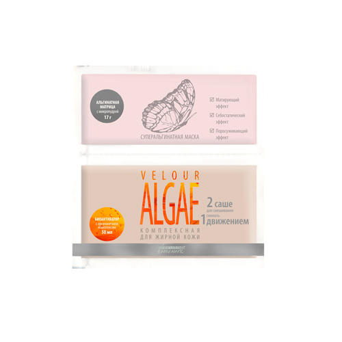"""Купить со скидкой Premium Суперальгинатная маска """"velour algae комплексная для жирной кожи"""", 17г. + 50мл (Premium, Hom"""