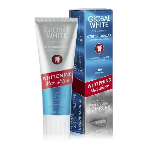 Ежедневная отбеливающая зубная паста на 1 тон 100 мл (Global white, Зубные пасты) зубная паста отбеливающая global white 100 мл