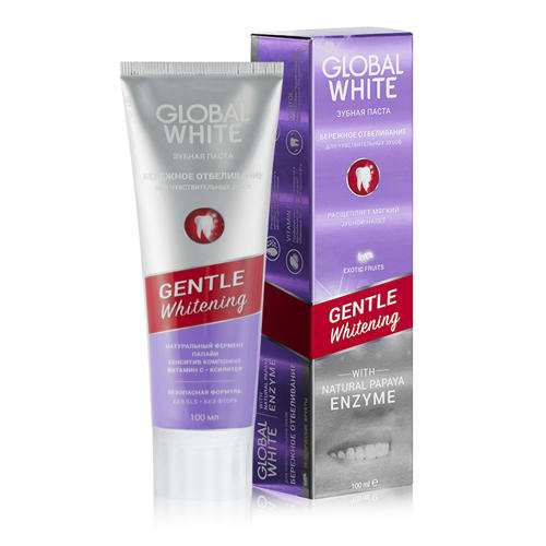 Отбеливающая зубная паста для чувствительных зубов 100 мл (Global white, Зубные пасты)