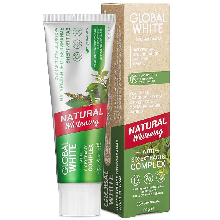 Global White Отбеливающая зубная паста Natural Whitening, 100 г (Global White, Зубные пасты) недорого