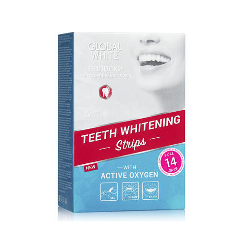 Отбеливающие полоски для зубов Активный кислород 14 дней (Global white, Отбеливающие системы)