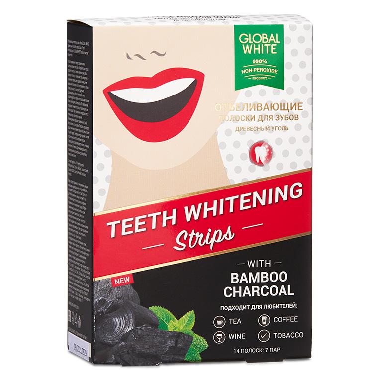 Global White Отбеливающие полоски для зубов «Бамбуковый уголь», 14 шт (Global White, Отбеливающие системы)
