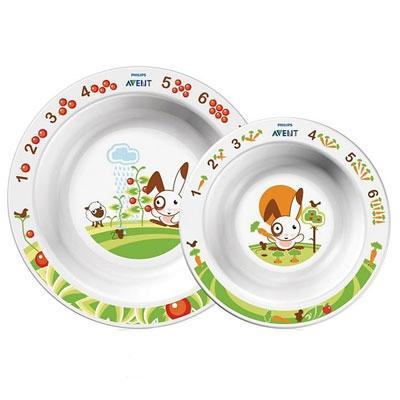 Набор из 2 тарелок Глубокая большая и Глубокая маленькая 6мес+ (Детская посуда) (Avent)