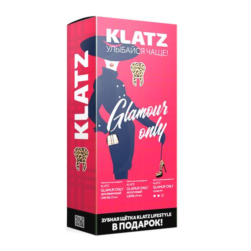 Купить Klatz Набор: Зубная паста земляничный смузи 75 мл + Зубная паста Молочный шейк 75 мл + Зубная щетка средняя 1 шт. (Klatz, Glamour Only), Россия