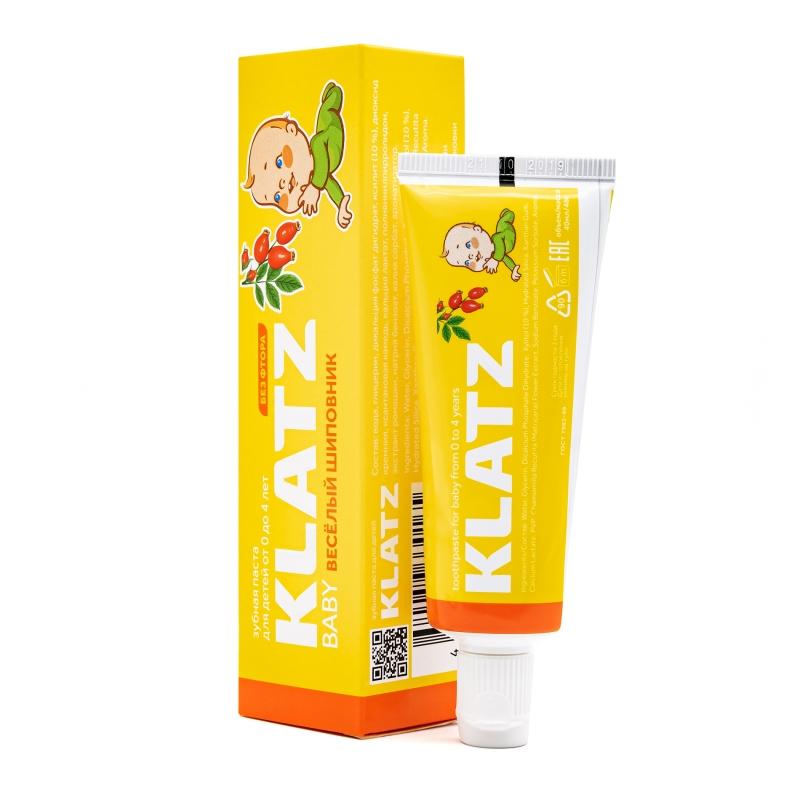 Klatz Зубная паста от 0 до 4 лет Веселый шиповник без фтора 48 мл (Klatz, Baby)