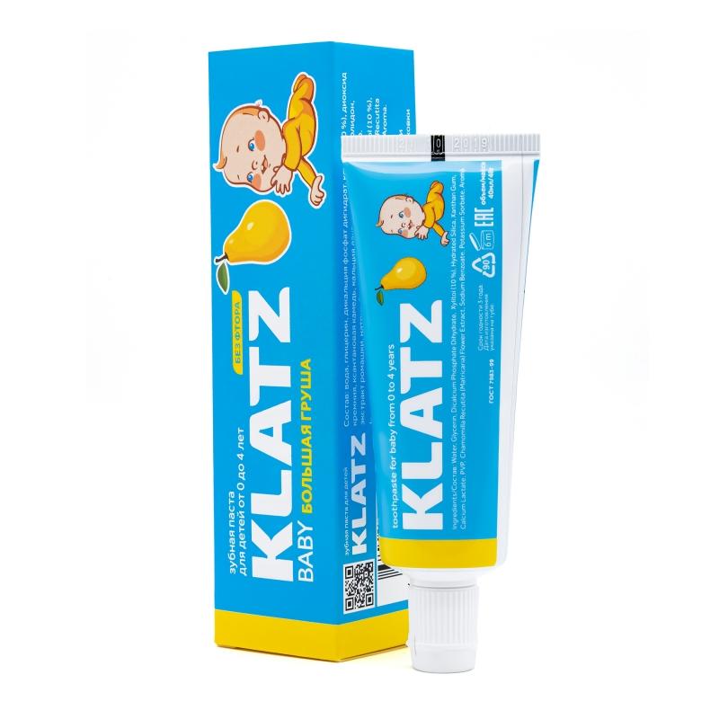 Klatz Зубная паста от 0 до 4 лет Большая груша без фтора 48 мл (Klatz, Baby)