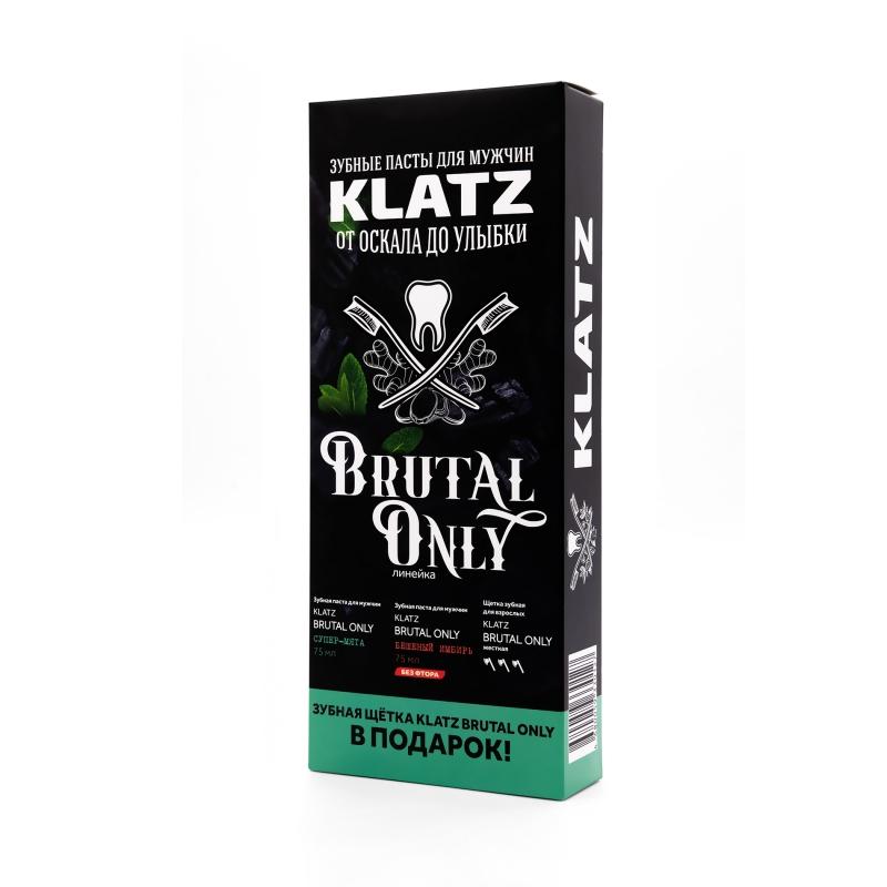 Купить Klatz Набор: Зубная паста Супер-мята 75 мл + Зубная паста Бешеный имбирь 75 мл + Зубная щетка жесткая 1 шт. (Klatz, Brutal only), Россия