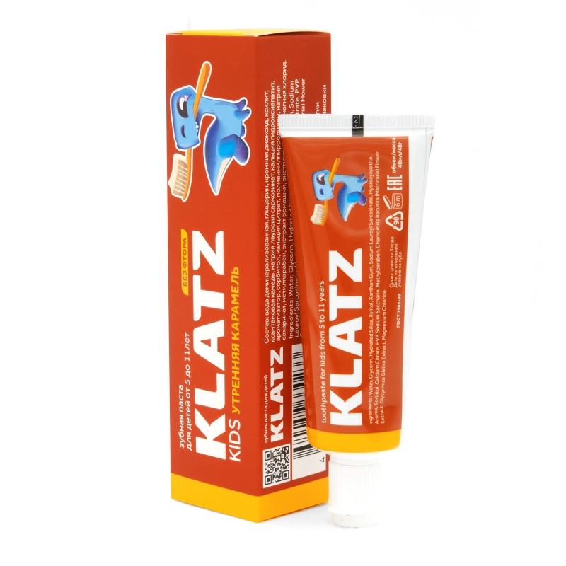 Klatz Зубная паста Утренняя карамель без фтора 48 мл (Klatz, Kids) фото
