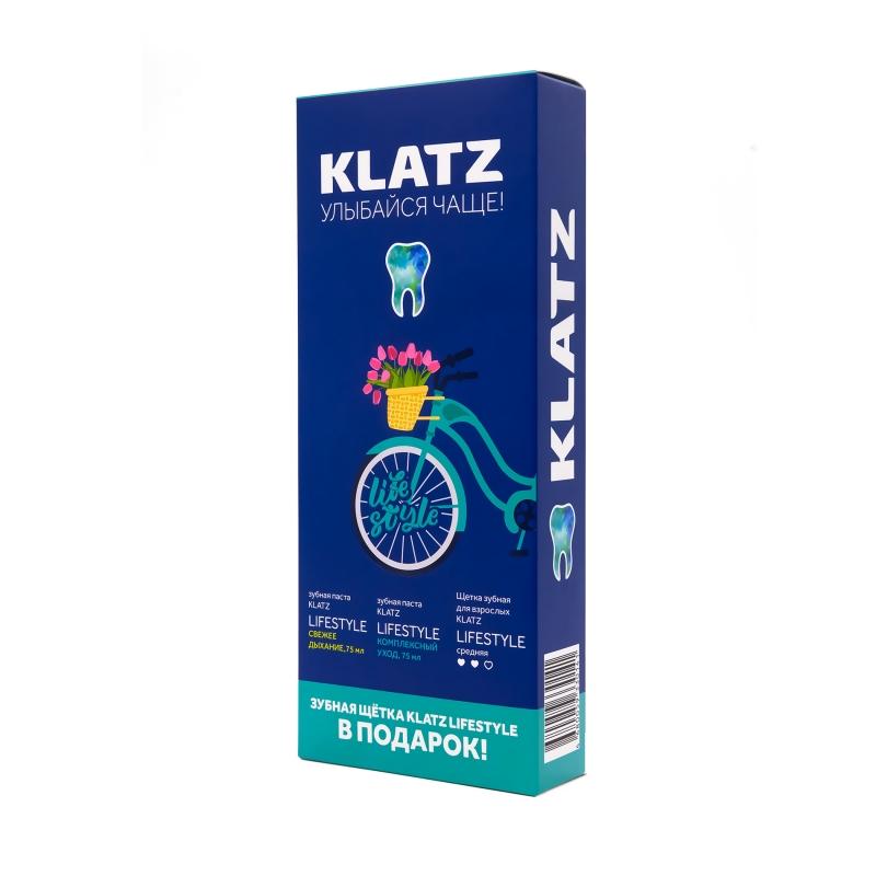 Купить Klatz Набор: Зубная паста Свежее дыхание 75 мл + Зубная паста Комплексный уход 75 мл + Зубная щетка средняя 1 шт. (Klatz, Lifestyle), Россия