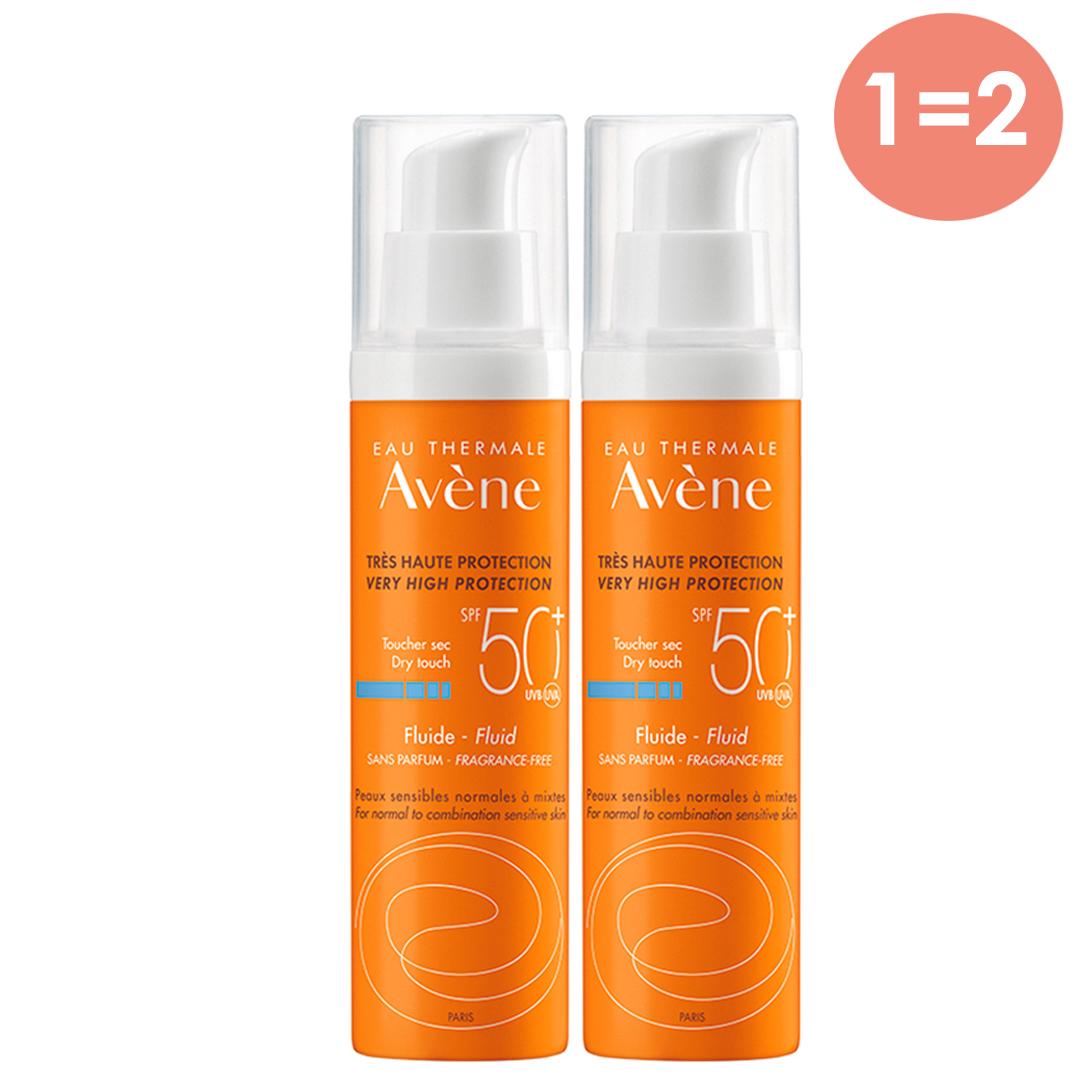 Avene Солнцезащитный флюид SPF 50 без отдушек, 50 мл х 2 шт. (Avene, Suncare)