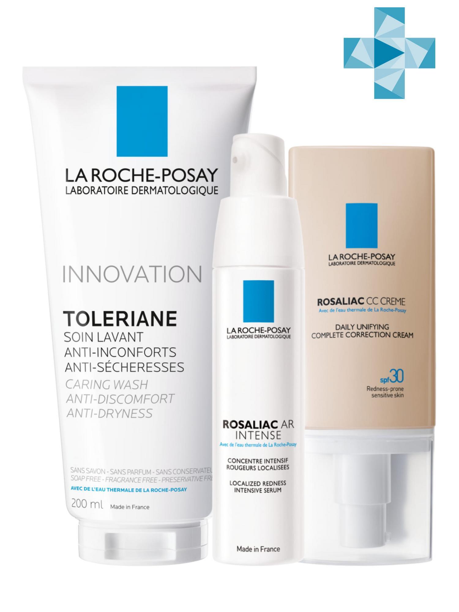 La Roche-Posay Набор Rosaliac (Интенсивная сыворотка + Крем Rosaliac СС + Очищающий гель-уход для умывания Toleriane) (La Roche-Posay, Rosaliac)