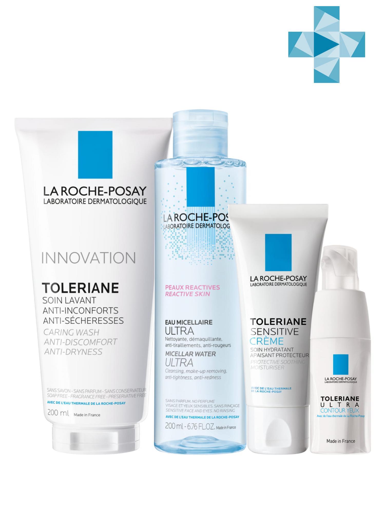 Купить La Roche-Posay Набор легкий крем 40 мл + крем для глаз 20 мл + очищающий гель 200 мл + мицеллярная вода для чувствительной кожи, 200 мл (La Roche-Posay, Toleriane), Франция