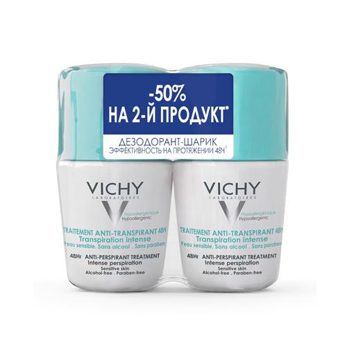 Vichy Дуопак Дезодорант 48 ч против избыточного потоотделения 50 мл х 2 шт. (Vichy, Deodorant) vichy комплект дезодорант антистресс 72 часа защиты 2 шт х 50 мл vichy deodorant
