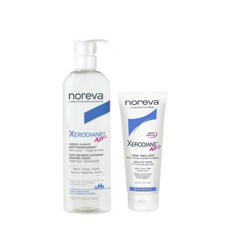 Noreva Набор Ксеродиан АР+: Очищающий пенящийся крем 500 мл + Крем-эмольянт 200 мл (Noreva, Xerodiane AP+) липикар бауме ар купить