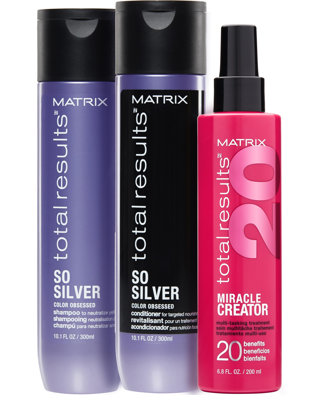 Купить Matrix Комплект Соу Сильвер: Шампунь 300 мл + кондиционер 300 мл + спрей Миракл криэйтор 200 мл (Matrix, Total results), США