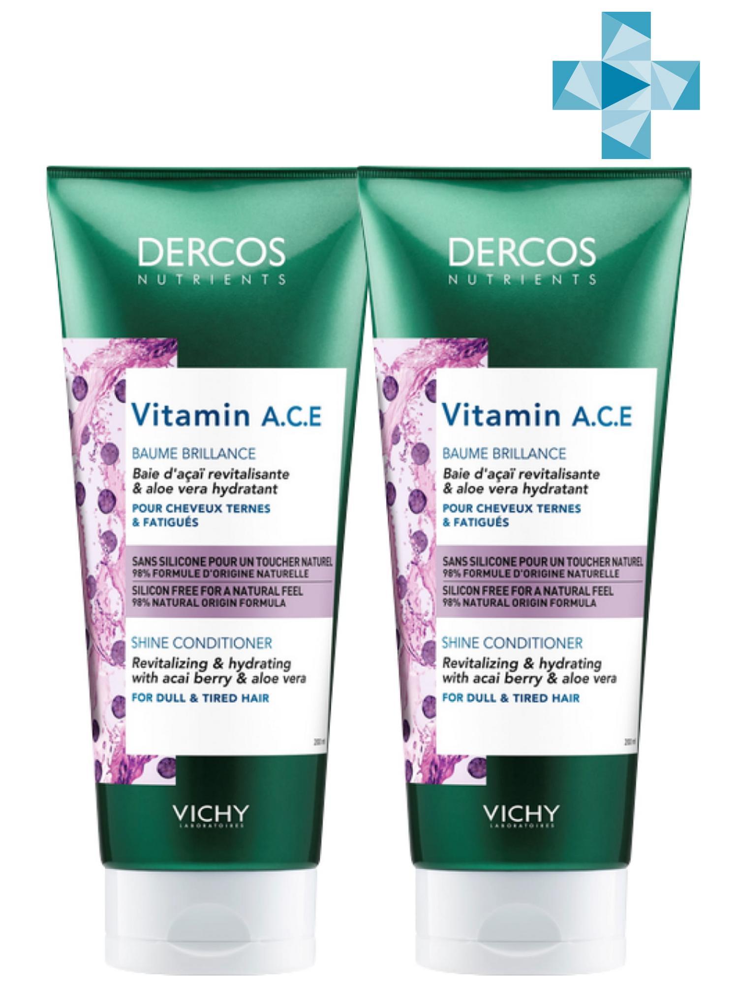 Купить Vichy Комплект Vitamin Кондиционер для блеска волос Dercos Nutrients, 2 шт. по 200 мл (Vichy, Dercos Nutrients), Франция
