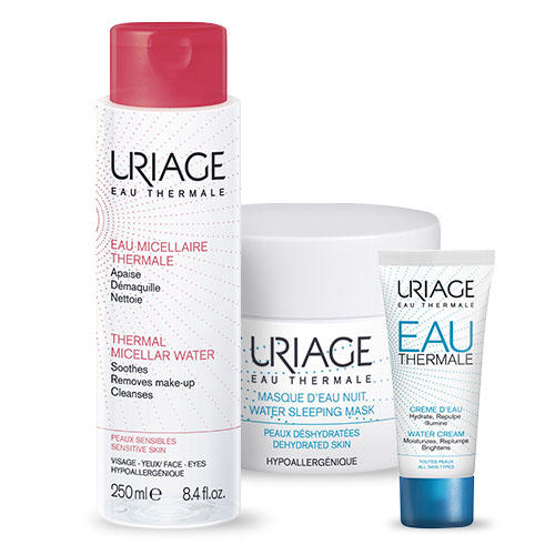 Купить Uriage Набор ОТермаль: Легкий увлажняющий крем Eau thermale 40 мл + Ночная маска + Мицеллярная вода (Uriage, Eau thermale), Франция