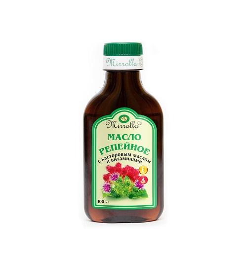 Фото - Mirrolla Репейное масло с касторовым маслом и витаминами А и Е 100 мл (Mirrolla, Репейные масла) масло для тела и волос кокосовое mirrolla 100 мл