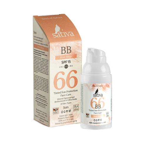 Купить Sativa ВВ-крем ухаживающий №66 Rose Beige SPF 15 , 30 мл (Sativa, Sun), Беларусь