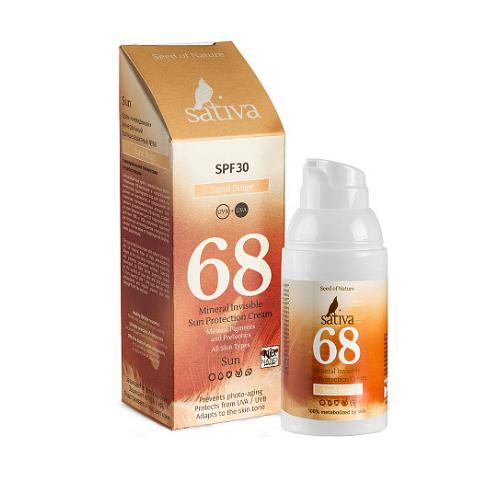 Купить Sativa Крем солнцезащитный с тонирующим эффектом № 68 Sand Beige SPF 30, 30 мл (Sativa, Help!), Беларусь
