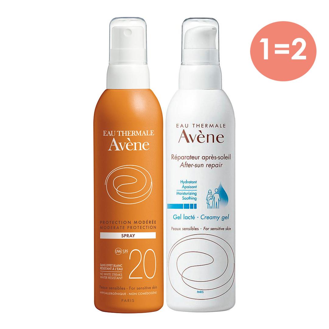 Купить Avene Набор: Солнцезащитный спрей SPF 20 Умеренная защита 200 мл + Восстанавливающее молочко после солнца 200 мл (Avene, Suncare), Франция