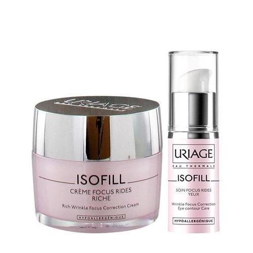 Набор Изофиль Обогащенный крем 50 мл Уход для кожи контура глаз 15 мл (Uriage, Isofill)
