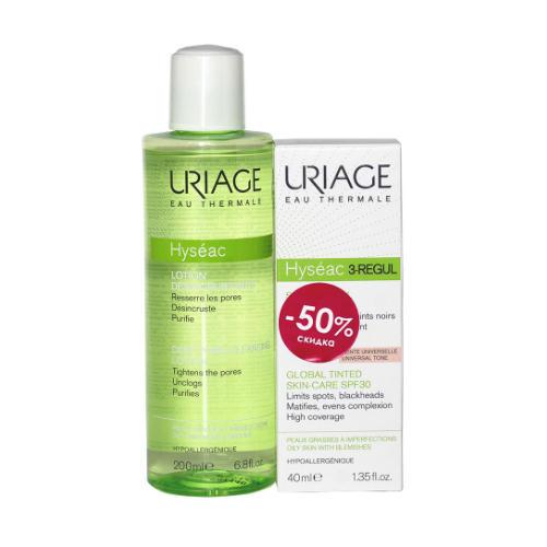 Набор Исеак Лосьон для очищения пор 200 мл 3 REGUL Универсальный тональный крем SPF30, 40 мл (Uriage, Hyseac) недорого