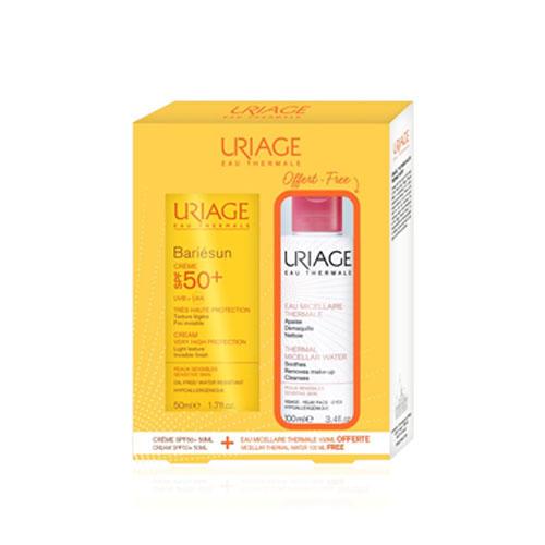 Набор Солнцезащитный крем SPF50 Барьесан 50 мл Очищающая Мицеллярная Вода 100 мл (Uriage, Bariesun) урьяж барьесан крем солнцезащитный
