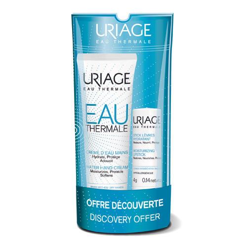Uriage Набор Увлажняющий крем для рук 30 мл + Увлажняющий стик для губ 4 гр (Eau thermale)