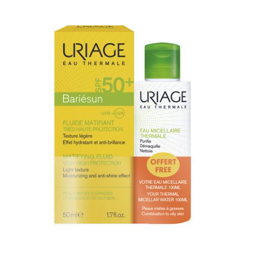 Купить Uriage Набор Барьесан Матирующая эмульсия SPF 50+, 50 мл + Очищающая мицеллярная вода для комбинированной и жирной кожи 100 мл (Uriage, Bariesun), Франция