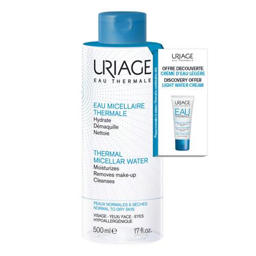 Набор Очищающая мицеллярная вода для нормальной и сухой кожи 500 мл Eau thermale Легкий увлажняющий крем 15 мл (Uriage, Гигиена Uriage) очищающая вода урьяж