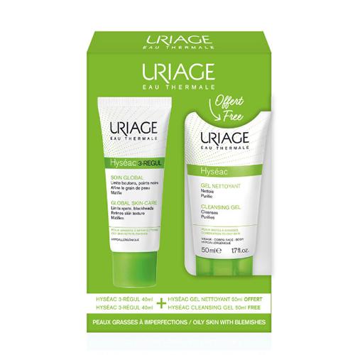 Набор Исеак 3Regul Универсальный уход для лица 40 мл Мягкий очищающий гель Исеак 50 мл (Uriage, Hyseac) недорого