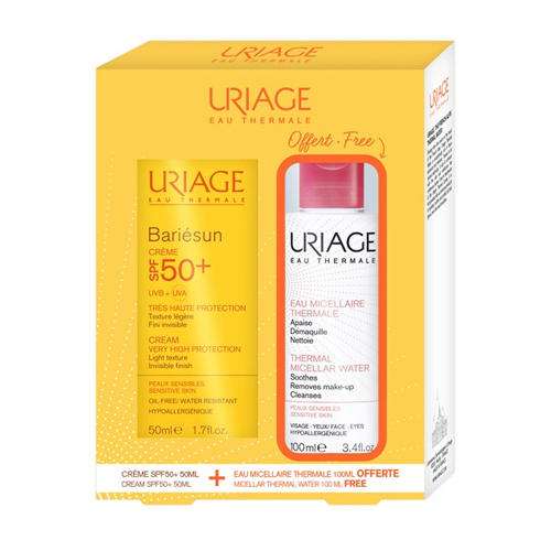 Uriage Набор Солнцезащитный крем Барьерсан SPF50+, 50 мл + Мицеллярная вода для чувствительной кожи 100 мл (Bariesun)