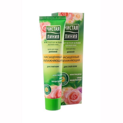 Чистая линия Крем дневной Увлажняющий для сухой кожи с розой 42 мл (Чистая линия, Уход за лицом)